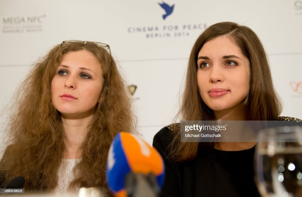 Pussy Riot members <a gi-track='captionPersonalityLinkClicked' href=/galleries/search?phrase=Nadezhda+Tolokonnikova&family=editorial&specificpeople=9133066 ng-click='$event.stopPropagation()'>Nadezhda Tolokonnikova</a> (R) and <a gi-track='captionPersonalityLinkClicked' href=/galleries/search?phrase=Maria+Alyokhina&family=editorial&specificpeople=9133065 ng-click='$event.stopPropagation()'>Maria Alyokhina</a> attend the Cinema for Peace 2014 Press Conference on February 10, 2014 in Berlin, Germany.