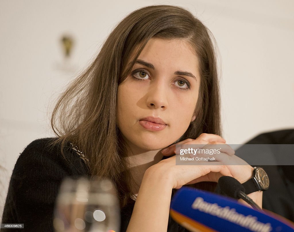 Pussy Riot members <a gi-track='captionPersonalityLinkClicked' href=/galleries/search?phrase=Nadezhda+Tolokonnikova&family=editorial&specificpeople=9133066 ng-click='$event.stopPropagation()'>Nadezhda Tolokonnikova</a> (R) and Maria Alyokhina attend the Cinema for Peace 2014 Press Conference on February 10, 2014 in Berlin, Germany.
