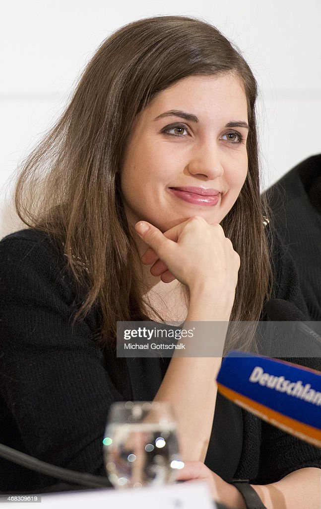 Pussy Riot members <a gi-track='captionPersonalityLinkClicked' href=/galleries/search?phrase=Nadezhda+Tolokonnikova&family=editorial&specificpeople=9133066 ng-click='$event.stopPropagation()'>Nadezhda Tolokonnikova</a> attends the Cinema for Peace 2014 Press Conference on February 10, 2014 in Berlin, Germany.