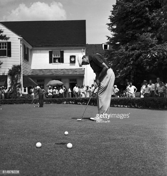 Putting here is Texas' Ben Hogan one of the contestants in the 50th US Open Championship which gets underway at the Merion Golf Club tomorrow He has...