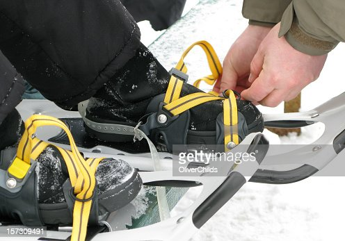 Putting on Snowshoes