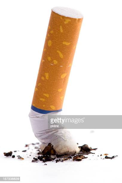 Putting out a cigarette