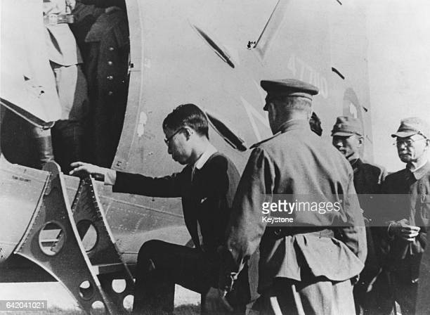 Puyi or Henry Pu Yi the last Emperor of China is transported by plane to Mukden having been captured by the Soviet Red Army 2nd October 1945