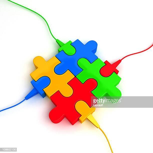 パズル 4 つの部分から成るケーブル付き