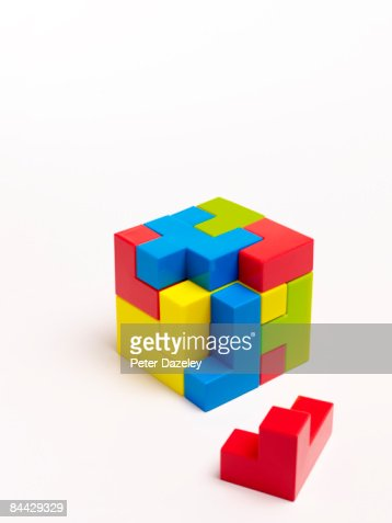 Puzzle on white background : Stock Photo