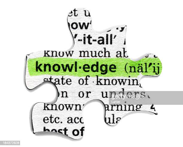 A puzzle piece with the definition of knowledge typed on it