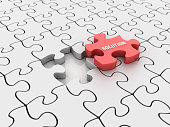 Puzzle Pieces with Solution Word - White Background - 3D Rendering