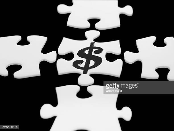 Puzzle Pieces with US Dollar Symbol