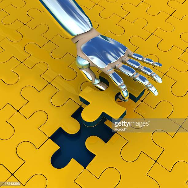 Puzzle with robot hand