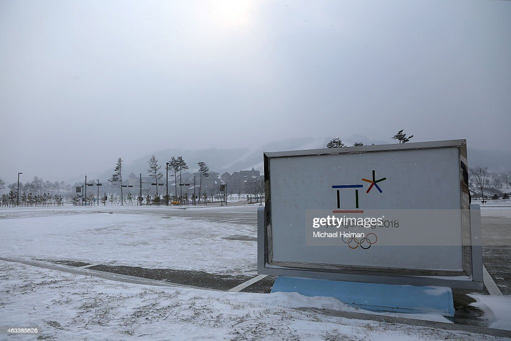 Pyeongchang 2018 Olympic Winter Games sign is seen at the Yongpyong Alpine Centre on February 10 2015 located in the mountain cluster of Pyeongchang...