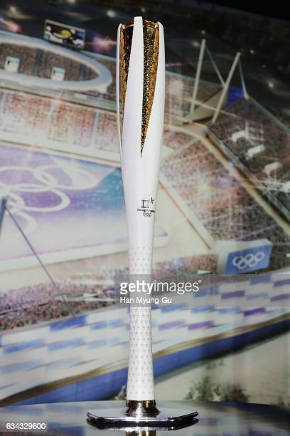 PyeongChang 2018 The Olympic Torch displayed at the Unveiling Ceremony of the Olympic Torch and Uniform at the PyeongChang 2018 One Year to Go...