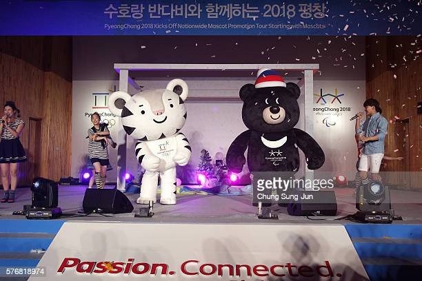 Pyeongchang Anticipates 2018 Winter Olympics mascots Soohorang and Bandabi attend the press event to introduce the mascots for the PyeongChang 2018...