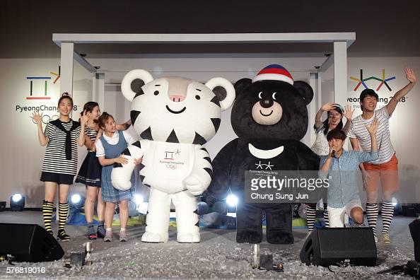 Pyeongchang Anticipates 2018 Winter Olympics mascots Soohorang and Bandabi attend the press event to introduce the mascots for the PyeongChang 2018...
