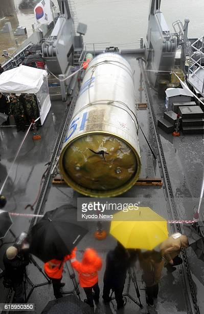 Pyeongtaek South Korea File photo shows debris of North Korea's longrange rocket which was launched on Dec 12 unveiled to the media at Pyeongtaek...