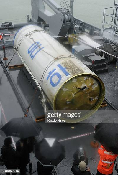 Pyeongtaek South Korea Photo shows debris of North Korea's longrange rocket which was launched on Dec 12 unveiled to the media at Pyeongtaek naval...