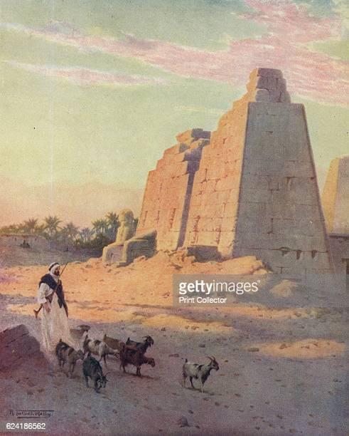 Pylon at Karnak' c1880 From Egypt by R Talbot Kelly [Adam Charles Black London 1904] Artist Robert George Talbot Kelly