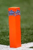 A pylon is seen during the All State Sugar Bowl at the MercedesBenz Superdome on January 1 2015 in New Orleans Louisiana