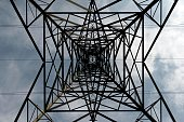 A pylon is viewed from below in Sale north west England on April 8 2015 As a general election looms the ConservativeLiberal Democrat government is...