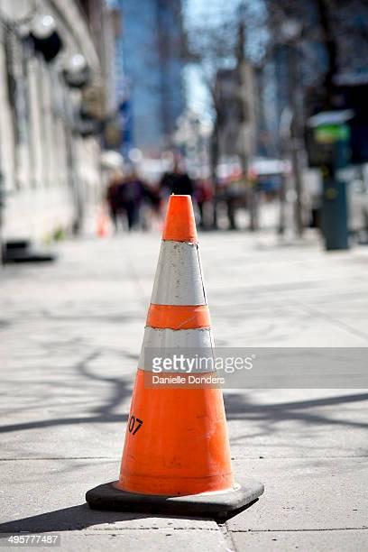 Pylon on the sidewalk
