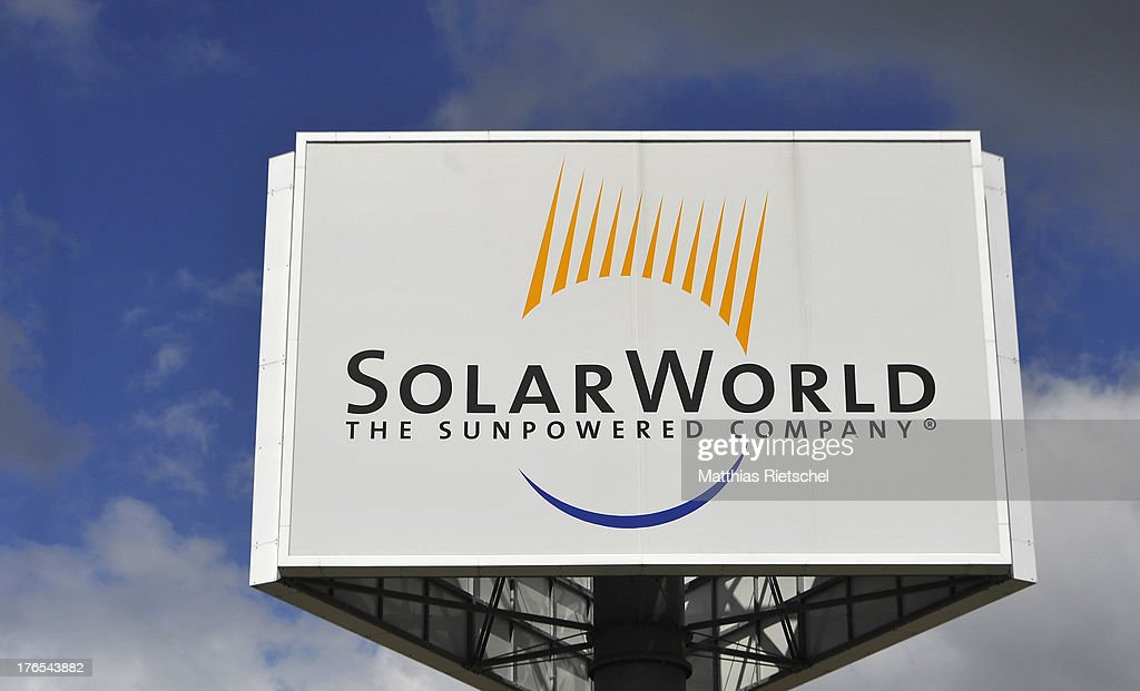 A pylon with the company logo is displayed near the entrance to the Solarworld plant on August 14, 2013 in Freiberg, Germany. The troubled solar cells, modules and panels producer managed to recently avoid bankruptcy by reaching an agreement with its shareholders and other investors. Many solar energy equipment producers in Germany are facing difficult times due to stiff competition from China.