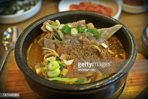 Pyohaejangguk, pork backbone soup : Stock Photo