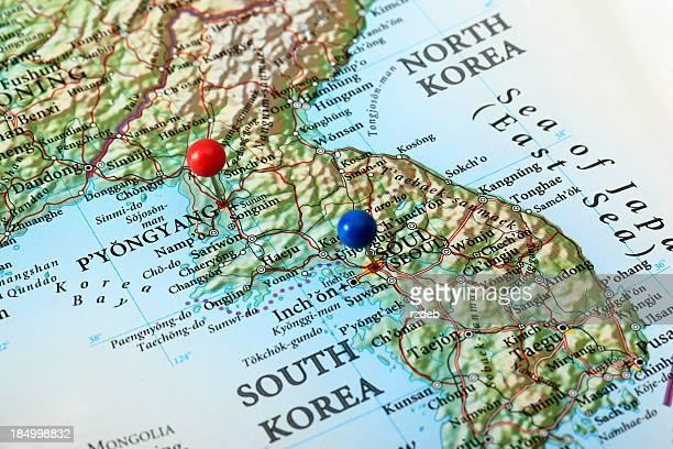 Pyongyang et carte de Séoul, Corée du Sud
