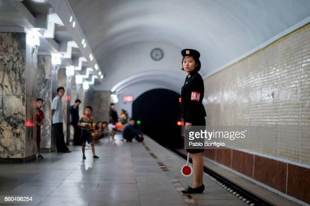 Pyongyang Metro Train attendant