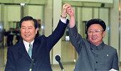Pyongyang North Korea File photo taken in June 2000 shows South Korean President Kim Dae Jung and North Korean leader Kim Jong Il holding hands ahead...