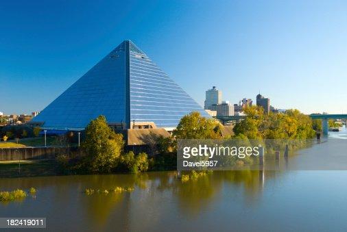 Pyramid Arena and the Memphis, TN city skyline