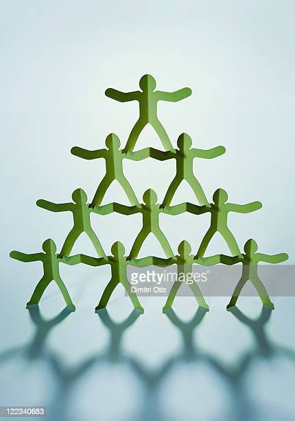 Pyramid of green cut-out men