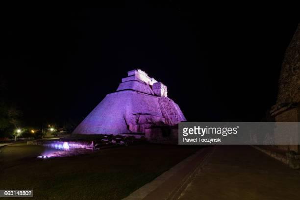 Pyramid of the Magician at night, Uxmal, Mexico
