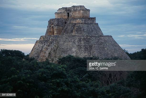 Pyramid of the Magician in Puuc style Uxmal Yucatan Mexico Mayan civilisation 10th century