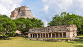 The Pyramid of the Magician is a Mesoamerican step pyramid located in the ancient, Pre-Columbian city of Uxmal, Mexico.