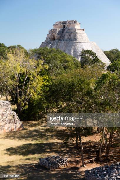 Pyramid of the Magician seen from the Governor's Palace, Uxmal Mayan site, Mexico