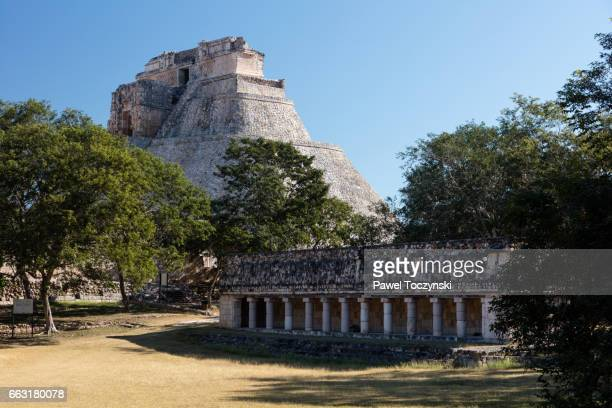 Pyramid of the Magician seen from the Plaza, Uxmal Mayan site, Mexico