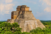 The Pyramid of the Magician is a Mesoamerican step pyramid located in the ancient pre-Columbian city of Uxmal, Mexico.