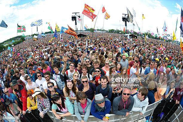 Pyramid Stage crowd on day four of the Glastonbury Festival of Music and Performing Arts on Worthy Farm near the village of Pilton in Somerset South...