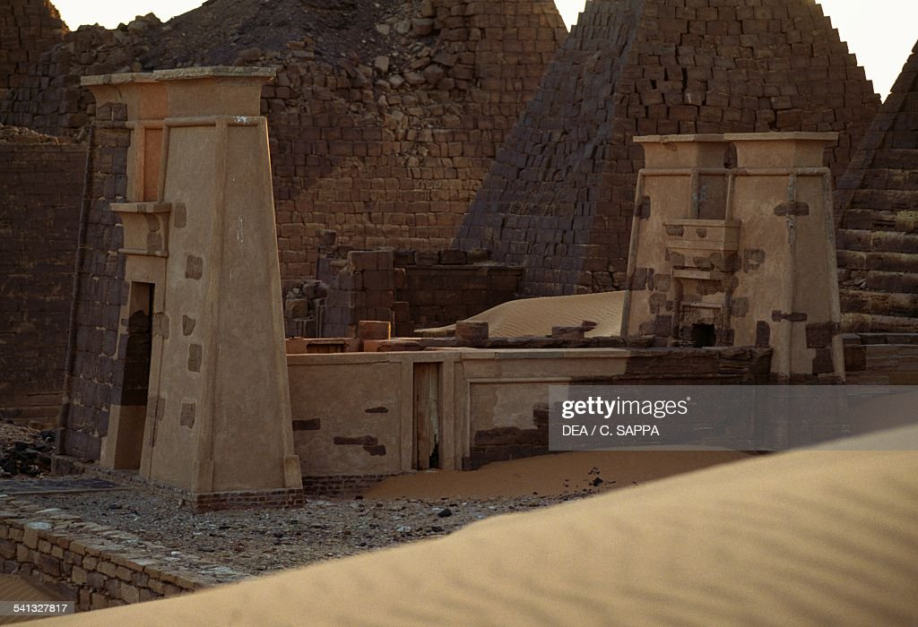 Pyramid tombs in Meroe necropolis 700400 BC Egyptian civilisation Sudan 8th5th century BC