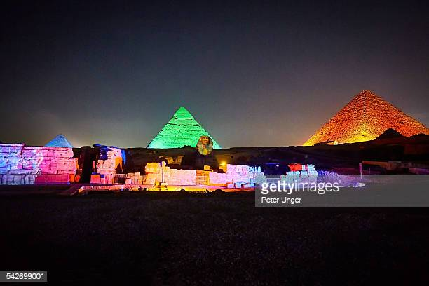 Pyramids and Sphinx at Night