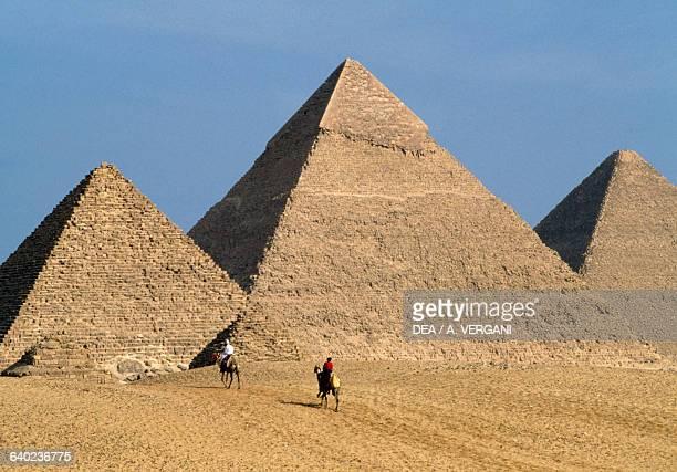 Pyramids of Cheops Khafre and Menkaure Giza Necropolis Egyptian Civilisation Old Kingdom Dynasty IV