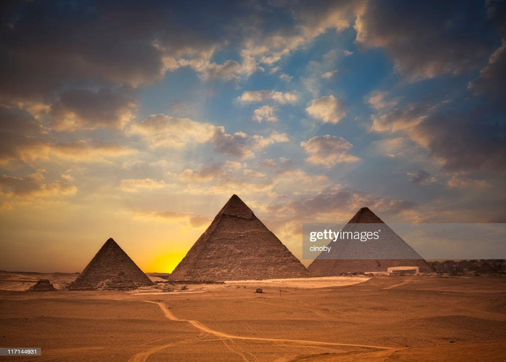 Pyramids of Giza at Sunset