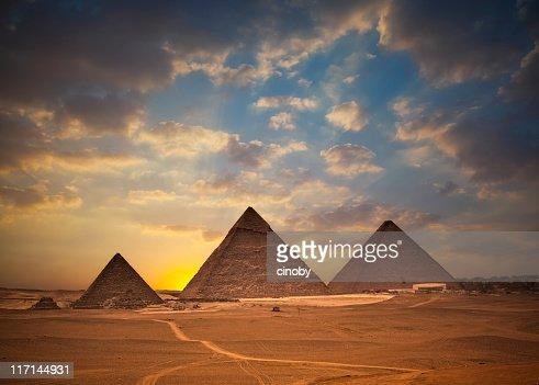 Pyramids of Giza at Sunset