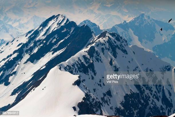 Pyrenees mountain range and ravens from Pic du Midi Observatory Pic du Midi de Bigorre HautesPyrenees department MidiPyrenees region France Europe