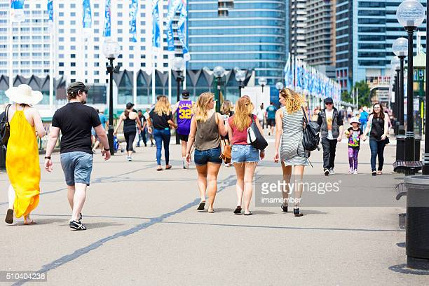 Pyrmont Bridge with crowd of tourist and sightseers, Sydney Australia