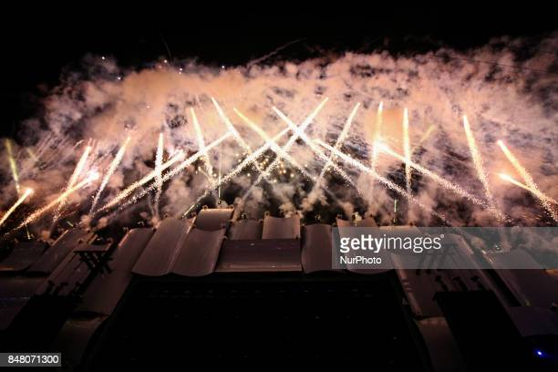 Pyrotechnical show marks the beginning of shows the World Stage of Rock in Rio 2017 in Rio de Janeiro Brazil on September 16 2017 causing great...