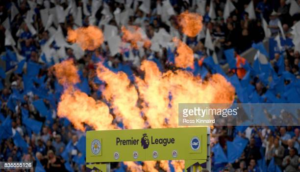 A pyrotechnics display as the team run out on the the pitch during the Premier League match between Leicester City and Brighton and Hove Albion at...