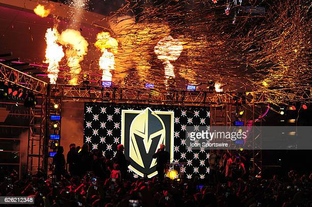 Pyrotechnics explode as the Vegas Golden Knights name and logo is revealed during the Las Vegas NHL team name Unveiling ceremony on November 22 at...