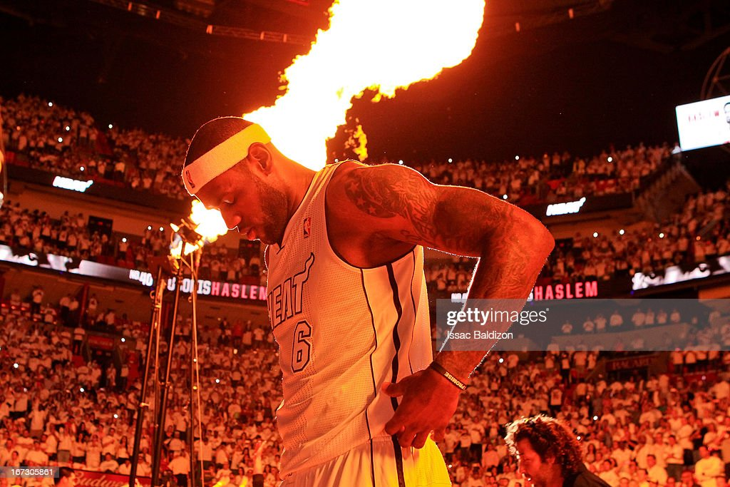 Pyrotechnics go off as <a gi-track='captionPersonalityLinkClicked' href=/galleries/search?phrase=LeBron+James&family=editorial&specificpeople=201474 ng-click='$event.stopPropagation()'>LeBron James</a> #6 of the Miami Heat waits to be introduced before playing against the Milwaukee Bucks in Game Two of the Eastern Conference Quarterfinals during the 2013 NBA Playoffs on April 23, 2013 at American Airlines Arena in Miami, Florida.