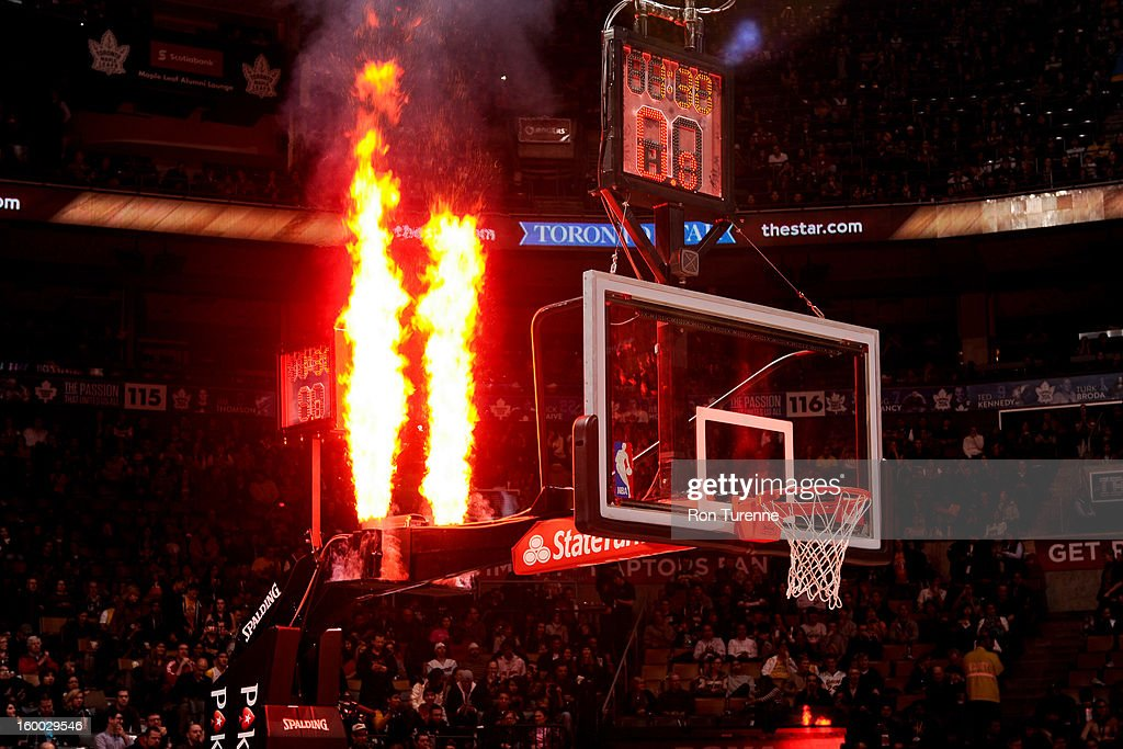 Pyrotechnics go off before a game between the Los Angeles Lakers and Toronto Raptors on January 20, 2013 at the Air Canada Centre in Toronto, Ontario, Canada.
