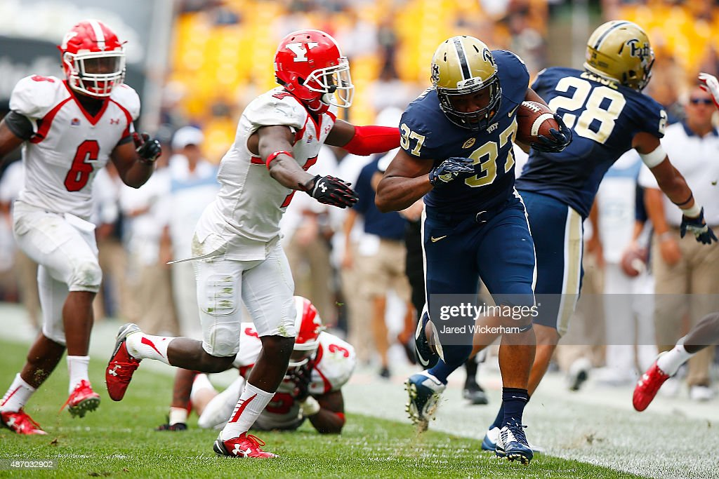Qadree Ollison #37 of the Pittsburgh Panthers carries the ball along the sideline in the fourth quarter against the Youngstown State Penguins during the game at Heinz Field on September 5, 2015 in Pittsburgh, Pennsylvania.